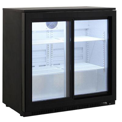 Cookology CCBF210BK Commercial Sliding 2 Door Bottle Display Fridge, Bar Beverage Cooler