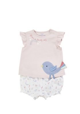 F&F Birdie Applique T-Shirt and Bloomer Shorts Set Pink/White 6-9 months