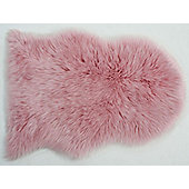 Faux Fur Sheepskin Rug in Pink - 60 x 90 cm
