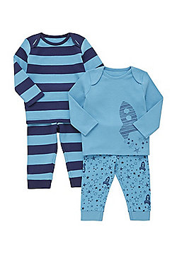 F&F 2 Pack of Space Print and Striped Pyjamas - Blue