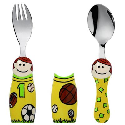 Kiddos Eat 4 Fun 2 Piece Fork and Spoon Children's Cutlery Set with Holders in Sports Boy Design K8624-12
