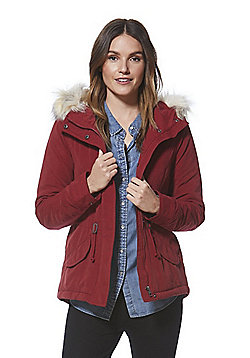 Only Faux Fur Trim Short Parka - Red