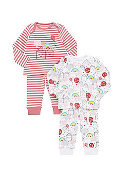 F&F 2 Pack of Striped and Rainbow Print Pyjamas - Multi