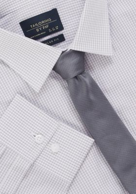 F&F Regular Fit Long Sleeve Shirt with Tie Grey 15