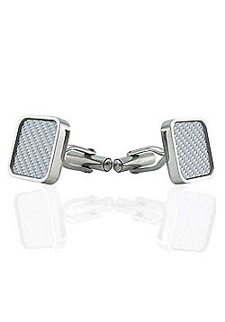 Urban Male Stainless Steel & White Carbon Fibre Cufflinks