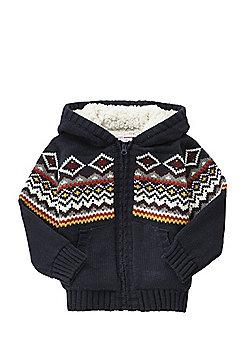 Minoti Fair Isle Knit Fleece Lined Cardigan - Navy