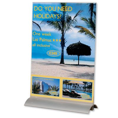Durable Presenter Sign and Literature Holder Desktop Acrylic with Metal Base A4 Clear Ref 8589/19