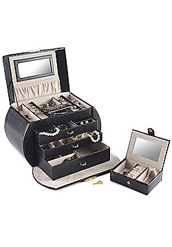 Beautify Black Jewellery Box with 3 Drawers and Lock