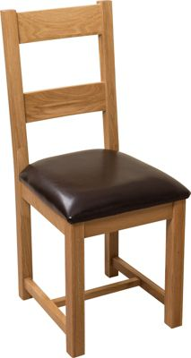 x4 Lincoln Oak & Brown Leather Braced Dining Chairs