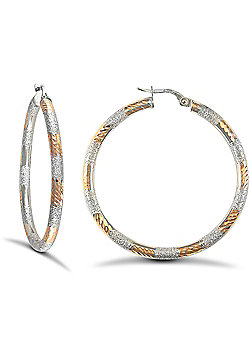 9ct White and Rose Gold Hoop Earrings - 41.1mm