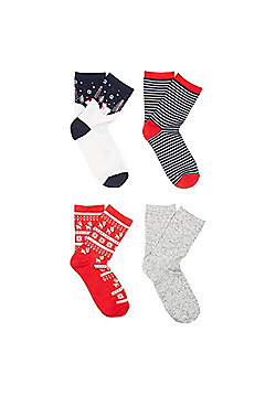 F&F 4 Pair Pack of Polar Bear Ankle Socks - Multi