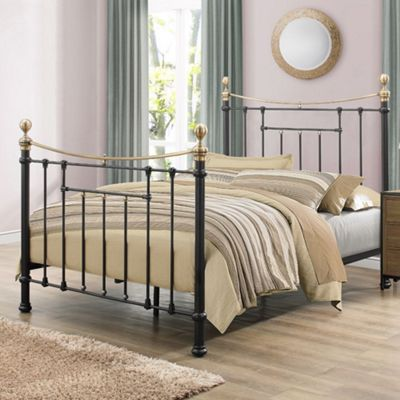 Happy Beds Bronte Metal High Foot End Bed with Orthopaedic Mattress - Black - 4ft6 Double