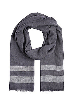 F&F Metallic Thread Border Scarf - Blue