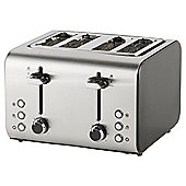 Tesco 4 Slice Toaster - Black & Stainless Steel