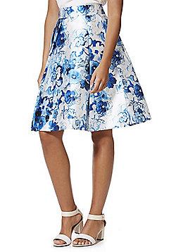 Cutie London Floral Print Full Skirt - Blue