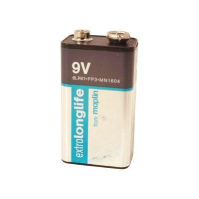 Maplin Duracell Extra Long Life PP3 9V Pack of 2 Alkaline Battery