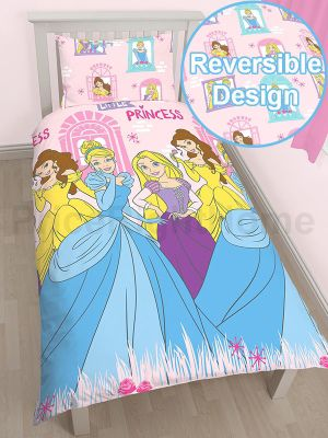 Disney Princess Boulevard Single Duvet Cover and Pillowcase Set - Rotary Design