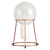 Copper Shuttle Tripod Table Lamp & Cool White LED Sparkle Bulb