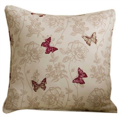 Homescapes Cotton Red Cushion Cover Butterfly Design 43 x 43 cm