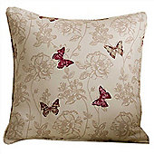 Homescapes Cotton Red Filled Cushion Butterfly Design 43 x 43 cm