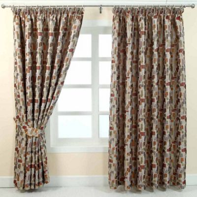 Homescapes Multi-Colour Jacquard Curtain Abstract Design Fully Lined - 66
