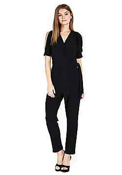 Wallis Petite Cold Shoulder Jumpsuit - Black