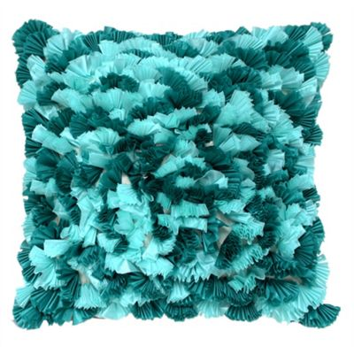 Mixed Ruffle Cushion - Teal & Aqua