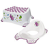 Happy Friends Hippo Toddler Toilet Training Seat & Step Stool Combo - White