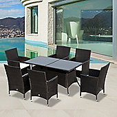 Outsunny 7 PC Wicker Garden Furniture Rattan Dining Set Rectangular Table - Black