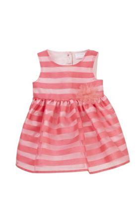 F&F Striped Organza Occasion Dress Pink 6-9 months