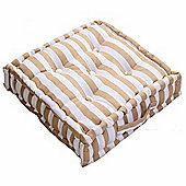 Homescapes Cotton Beige Thick Stripe Floor Cushion, 40 x 40 cm