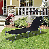 Outsunny Reclining Lounger Adjustable Portable Black