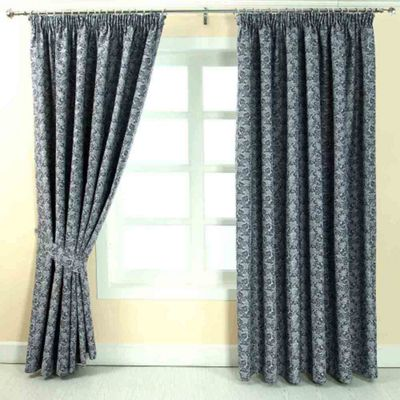 Homescapes Blue Jacquard Curtain Vintage Floral Design Fully Lined - 90