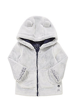 F&F Teddy Bear Faux Fur Hooded Jacket - Grey