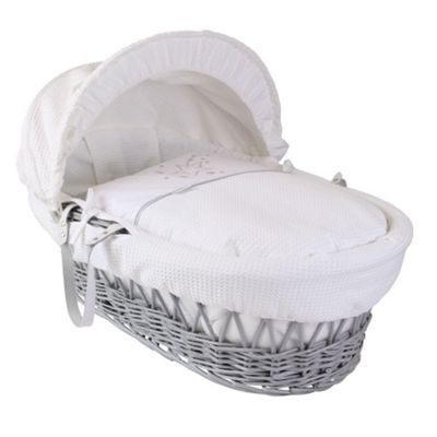 Clair de Lune Grey Wicker Moses Basket (Stardust White)