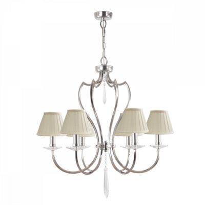 Polished Nickel 6lt Chandelier - 6 x 60W E14