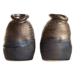 Set of 2 Distorted Bronze Ceramic Small 12cm Lipped Vases