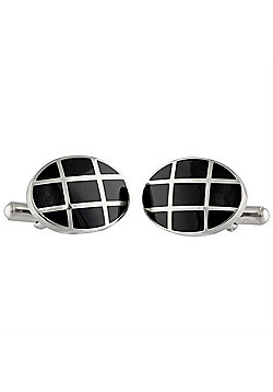 Urban Male Men's Black and Silver Stainless Steel Oval Cufflinks
