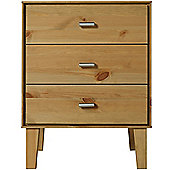 Angle - Solid Wood 3 Drawer Storage Chest / Bedside Table - Oak