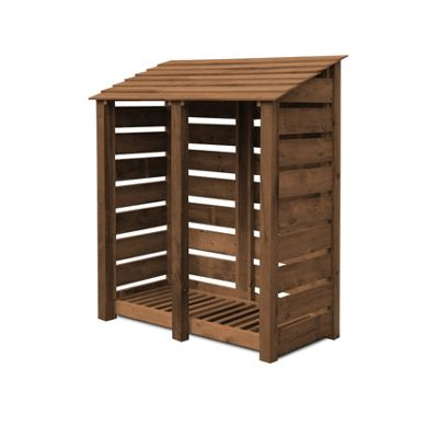 Cottesmore wooden log store - 6ft - Rustic Brown - Slatted