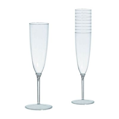 Clear Plastic Champagne Glasses - 142ml - 8 Pack