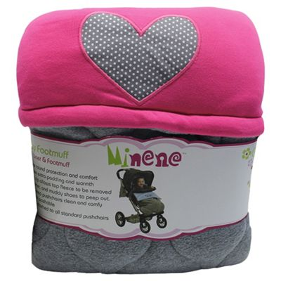 Minene Pushchair Liner Blanket Grey/Fuschia