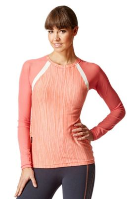 Raglan Mesh Long Sleeve Fitted Gym Top Coral Space-Cream M