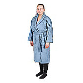 Homescapes Blue 100% Egyptian Combed Cotton Adults Bathrobe with Shawl Collar, Small/Medium