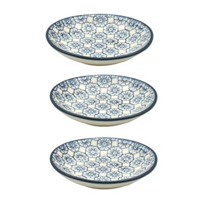 Small Patterned Rice / Soy Sauce / Olive Oil / Dipping Dish - 101mm - Blue Flower - Box of 3
