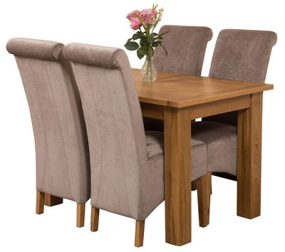 Hampton Extending Kitchen Solid Oak Dining Set Table + 4 Grey Fabric Chairs