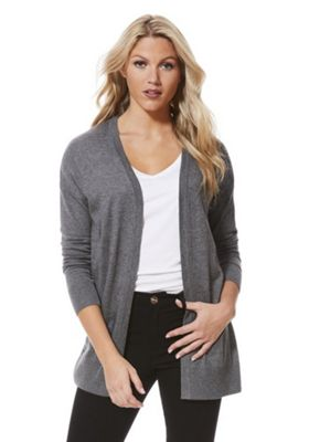 F&F Open Front Long Line Cardigan 10 Grey