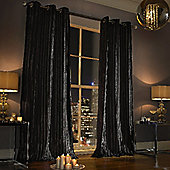 Iliana Eyelet Curtains, Black 229x229cm