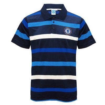 Chelsea FC Mens Striped Polo Shirt Small