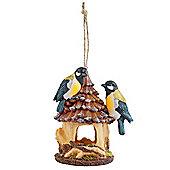 Rustic Hanging Resin Garden Bird House Nesting Box with Blue Birds